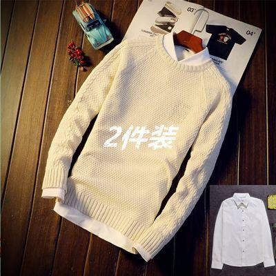 【两件装】秋冬季毛衣男圆领加厚套头毛线衣男士韩版修身学生长袖