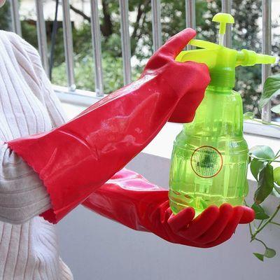 一体加绒加长 PU家务手套 洗碗洗衣服劳保手套防水耐磨洗车棉手套