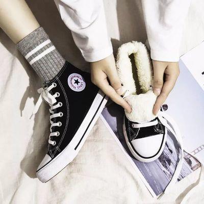 秋冬潮鞋子ins高帮帆布鞋女学生韩版百搭冬季加绒布鞋保暖二棉鞋【3月15日发完】