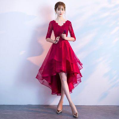 新娘敬酒服2018新款夏季红色韩式短款显瘦结婚晚礼服连衣裙女【3月1日发完】