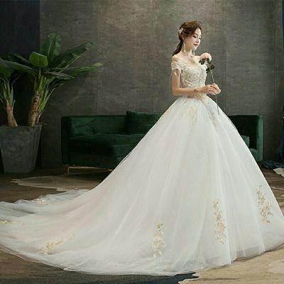 厂家直销2019新款一字肩婚纱拖尾晚礼服韩式修身婚纱长款新娘婚纱