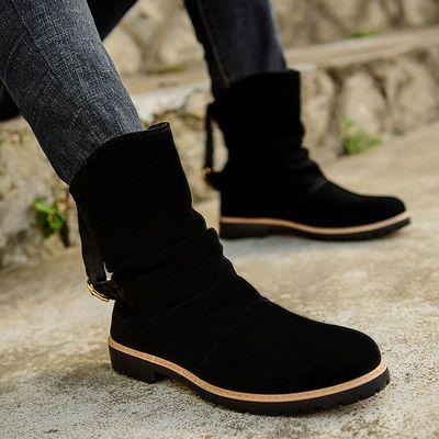 秋季英伦尖头磨砂皮短靴马丁靴男高帮商务休闲皮鞋男靴中帮皮靴男