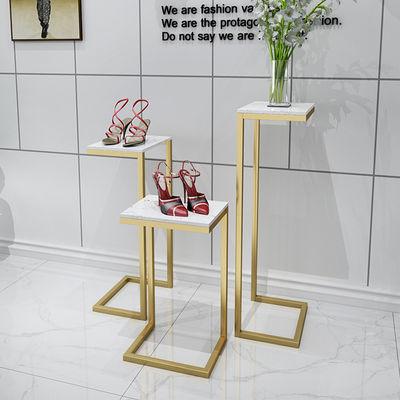 女服装店铺装修橱窗展示台摆件创意道具鞋包展示架金色中岛流水台