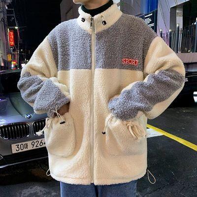 子俊男装秋冬立领棉服韩版宽松潮流撞色羊羔毛绒棉衣加厚保暖外套