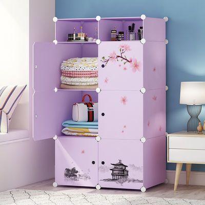简易衣柜塑料收纳柜仿实木钢管加粗加固家具推拉门简约儿童储物柜主图
