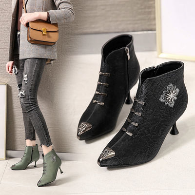 韩版时尚花朵水钻尖头细跟高跟鞋女短靴裸靴女中跟加绒红色马丁靴