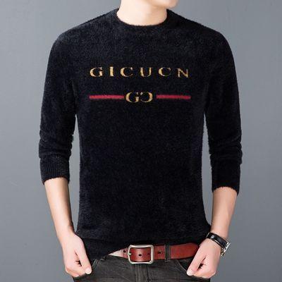 冬季仿貂男士圆领毛衣长袖针织衫中青年韩版修身加厚保暖羊毛衫男