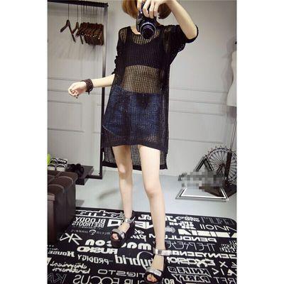 艾艾韩版夏季镂空罩衫针织衫女套头薄款宽松网衫大码中长款蝙蝠袖