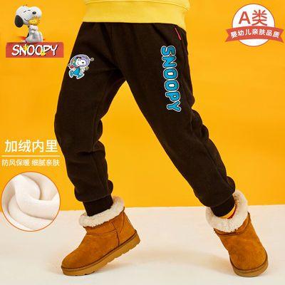 Snoopy史努比儿童裤子男童装男童加绒裤冬装男孩运动裤加厚一体绒