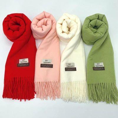新款纯色仿羊绒加厚保暖围巾女披肩韩版潮流百搭围脖两用秋冬季