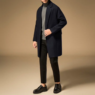 商务秋冬款羊毛呢子外套青年冬季男士毛呢大衣中长款加厚羊绒妮子