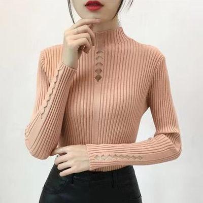 2020秋冬新款镂空内搭半高领打底衫长袖短款紧身针织衫修身毛衣女