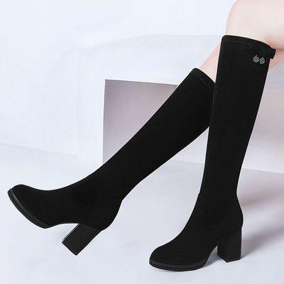 月售6万靴加绒过膝长靴粗高跟长筒靴子显瘦弹力靴