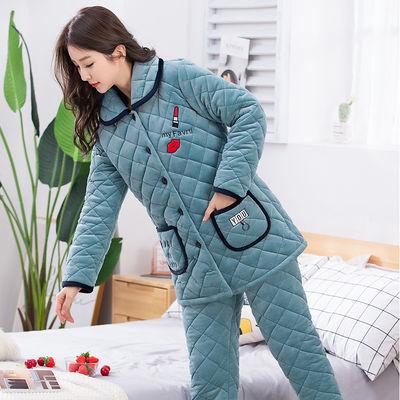 冬款珊瑚绒三层夹棉袄睡衣女冬季加厚加绒超保暖冬天中长款家居服