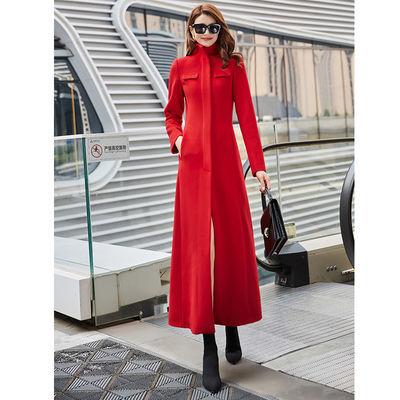 立领红色长款毛呢大衣2019冬季新款名媛显瘦修身女士超长毛呢外套