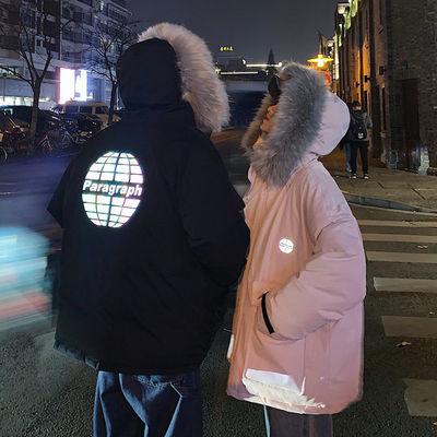 港风男装2019冬季新款情侣连帽棉衣男宽松加厚工装棉服反光外套潮