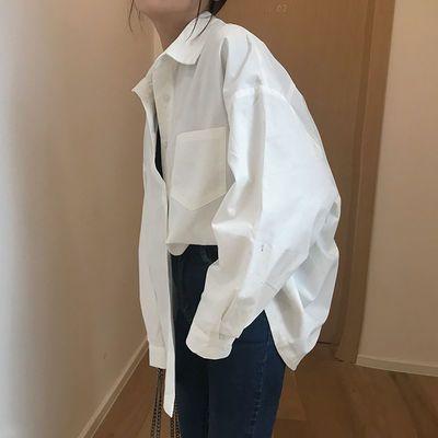 2018春新款韩版刺绣白色衬衫女生长袖娃娃领学院风小清新打底衬衣