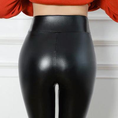 紧身打底裤加绒高腰外裤加厚弹力性感PU皮裤子女装2018年秋季九分