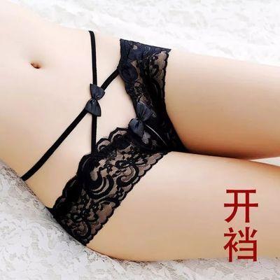 内裤女性感低腰超薄透明开裆丁字裤细带火辣诱惑真人实拍骚无痕