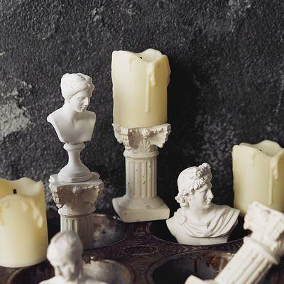 复古田园北欧风拍摄道具样板房装饰罗马烛台蜡烛电子小夜灯现代