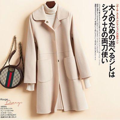 反季清仓赫本风双面羊绒大衣女中长款娃娃领小个子羊毛呢外套纯色