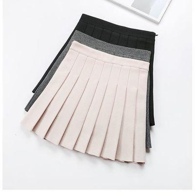 超短裙秋冬女小矮个子学生高腰黑色百褶裙无安全裤内衬迷你半身裙