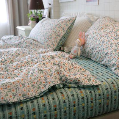 ins风全棉简约单人三件套纯棉小清新碎花床单被套学生床上四件套