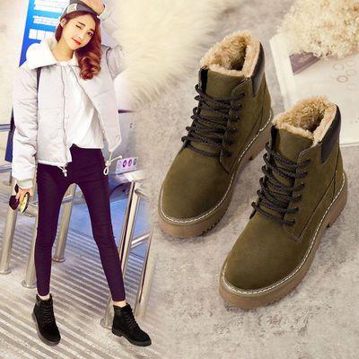 2020冬季韩版百搭马丁靴英伦风加绒保暖雪地靴女平底短靴防滑加厚