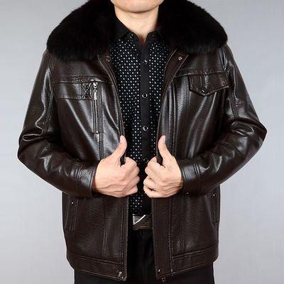 皮衣男士外套中老年男装冬季加绒加厚爸爸装皮夹克海宁PU皮棉衣