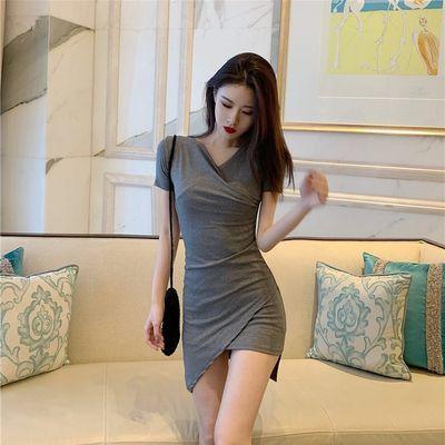 2019夏装新款修身显瘦网红不规则小心机短袖连衣裙女性感打底裙子
