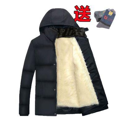 冬季棉衣棉服加绒加厚中老年男士棉袄男装中长款外套爸爸装男休闲