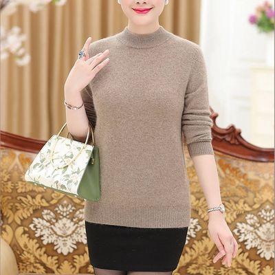 秋冬新款毛衣针织衫中老年妈妈装宽松套头打底衫半高领毛衣上衣女