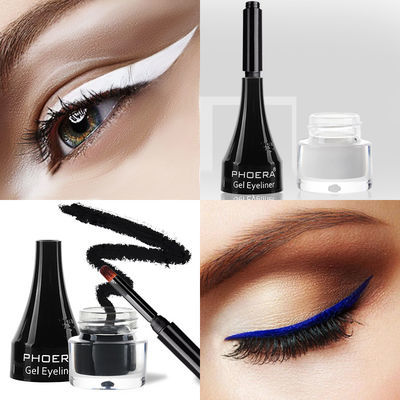 白色眼线膏下眼睑白色眼线笔液蓝色紫色浅棕色咖啡色黑色彩色防水