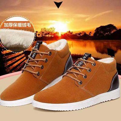 冬季男鞋加绒保暖男士棉鞋男中帮防滑雪地靴英伦休闲板鞋棉鞋