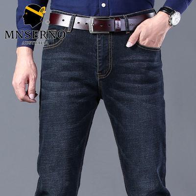 曼西尔奴春夏季男士牛仔裤时尚青年中腰弹力修身休闲直筒商务长裤