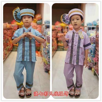 泰国男童装 棉麻料傣族男童服饰 东南亚男款服装套装 棉麻小男傣