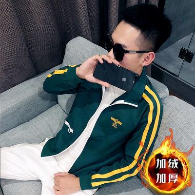 社会精神小伙三杆夹克男秋季韩版修身网红衣服学生休闲运动外套潮