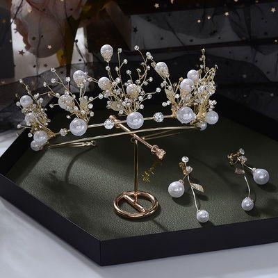 超仙甜美气质新娘手工串珠花朵森系新娘结婚皇冠耳环套装445