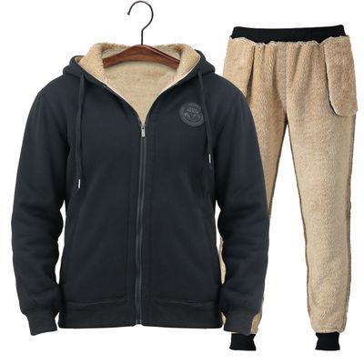 男士外套男冬季潮流保暖衣男羊羔绒运动套装加绒中年青年卫衣棉裤