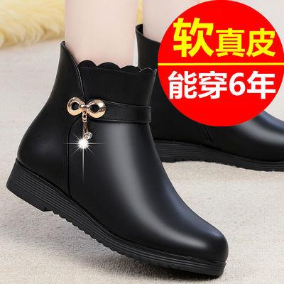 妈妈鞋棉鞋女秋冬季中年真皮软底短靴平底皮鞋加绒靴子中老年女鞋