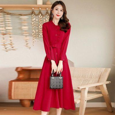 成熟气质秋冬装卡其色中长款修身显瘦裙子加外搭两件套针织连衣裙