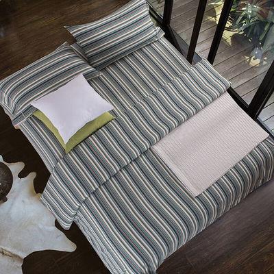 黄河口老粗布四件套纯棉全棉加厚纯色条纹方格床单四件套家纺床