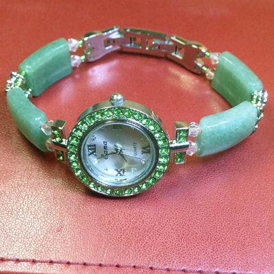 新款玉石水晶手链表女士手表防水石英表创意生日新年礼物时装表
