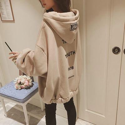 秋冬季拉链外套女韩版宽松学生加绒中长款百搭大码蝙蝠袖卫衣女潮