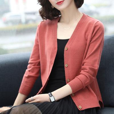 2019秋女装新款韩版上衣宽松V领开衫毛衣短款百搭针织衫外套褂子