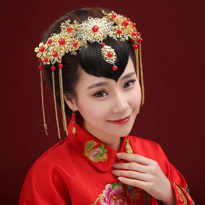 新娘结婚红色复古凤冠 新娘古装头饰 中式婚服皇冠发饰饰品 批发