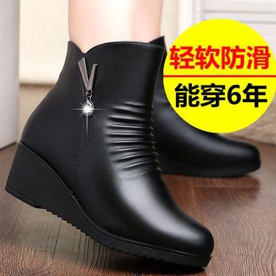 妈妈棉鞋女冬季真皮防滑坡跟皮鞋女加绒靴子女短靴中年女士棉靴女