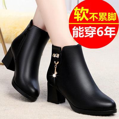 妈妈棉鞋女防滑中跟粗跟真皮冬季皮鞋靴子女加绒中老年女士棉靴女