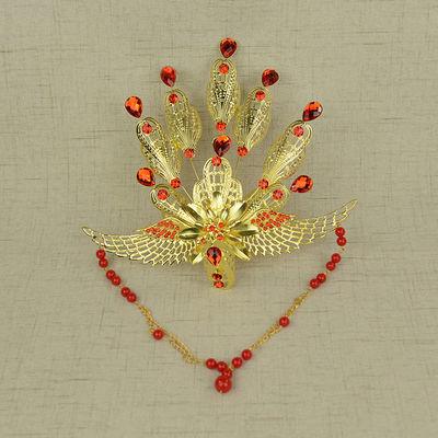 头饰古装女发饰中式新娘流苏发梳头冠宫廷复古贵妃金银色孔雀凤冠