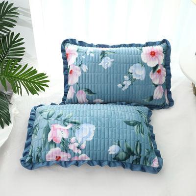 加厚水晶绒珊瑚绒枕套一对装夹棉加绒保暖枕头套法兰绒毛绒枕芯套